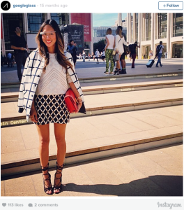 Song of Style blogger wearing Google Glass at NYFW