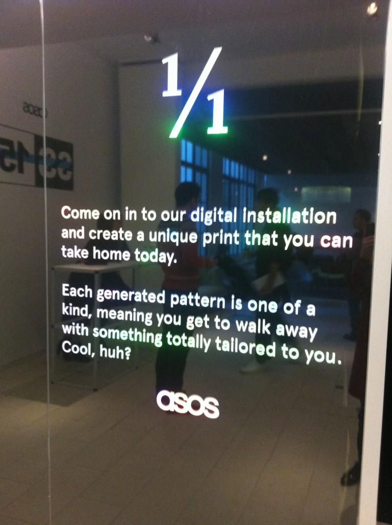 ASOS SS15 press day digital print installation