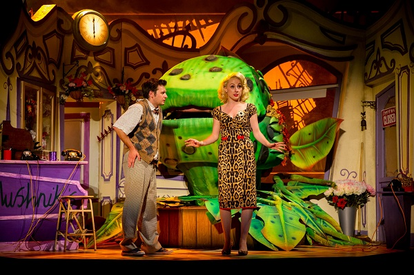 Sam Lupton as Seymour and Stephanie Clift as Audrey in Little Shop of Horrors. Photo Credit Matt Martin