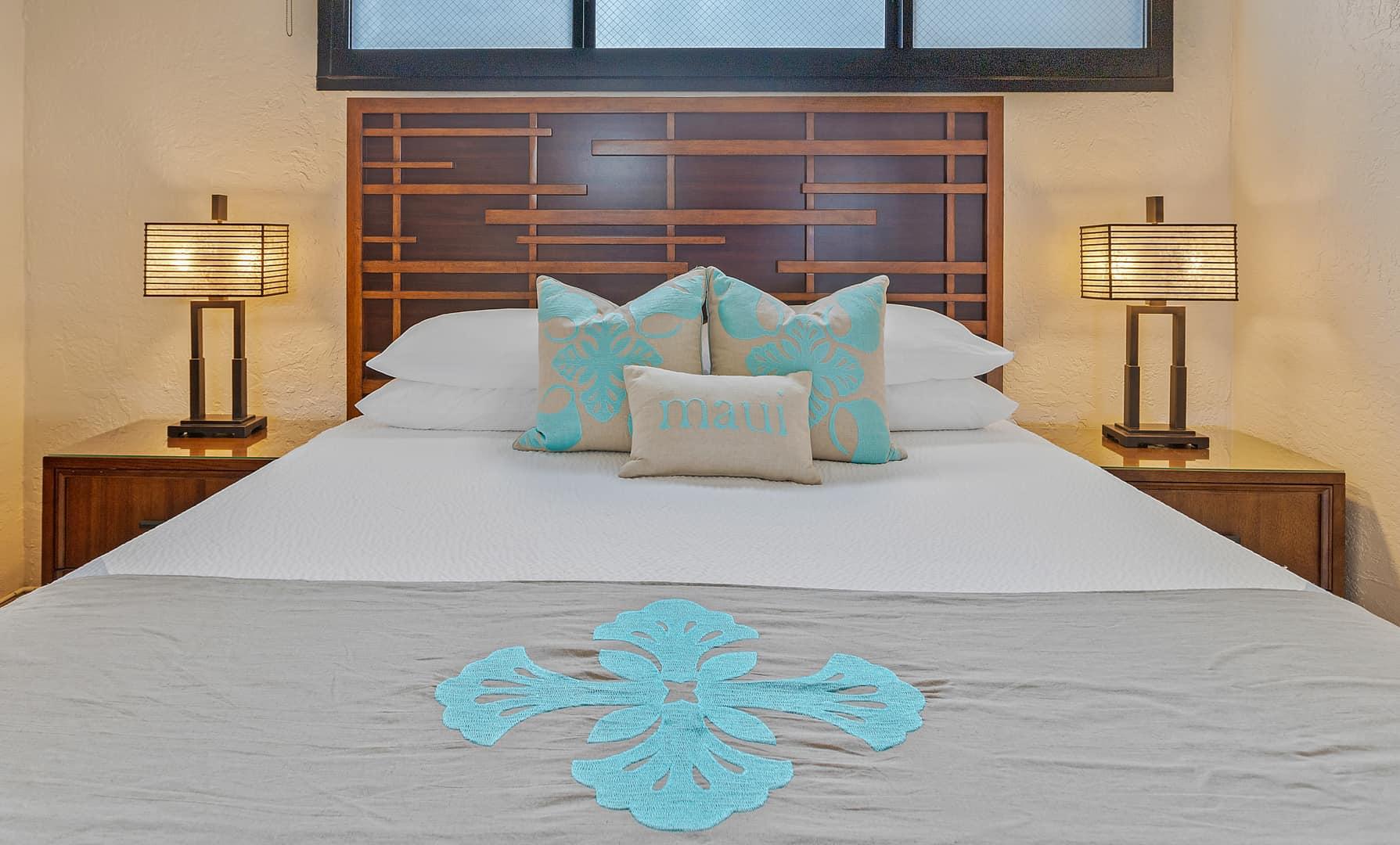 Hale Moana bed with Maka Sea bedding