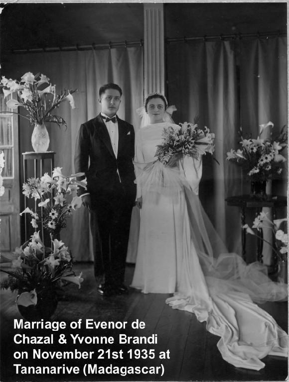 Marriage of Evenor and Yvonne de Chazal