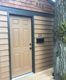 Playhouse front door with mailbox