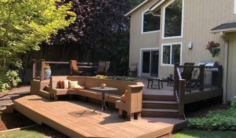 Two level deck with custom bench and planter box