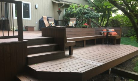 Two level composite deck with built in bench