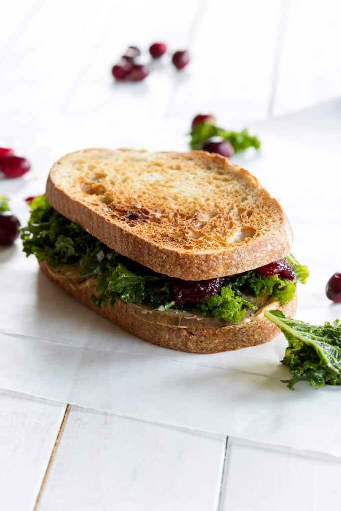 Thanksgiving Sandwich made with two slices of bread