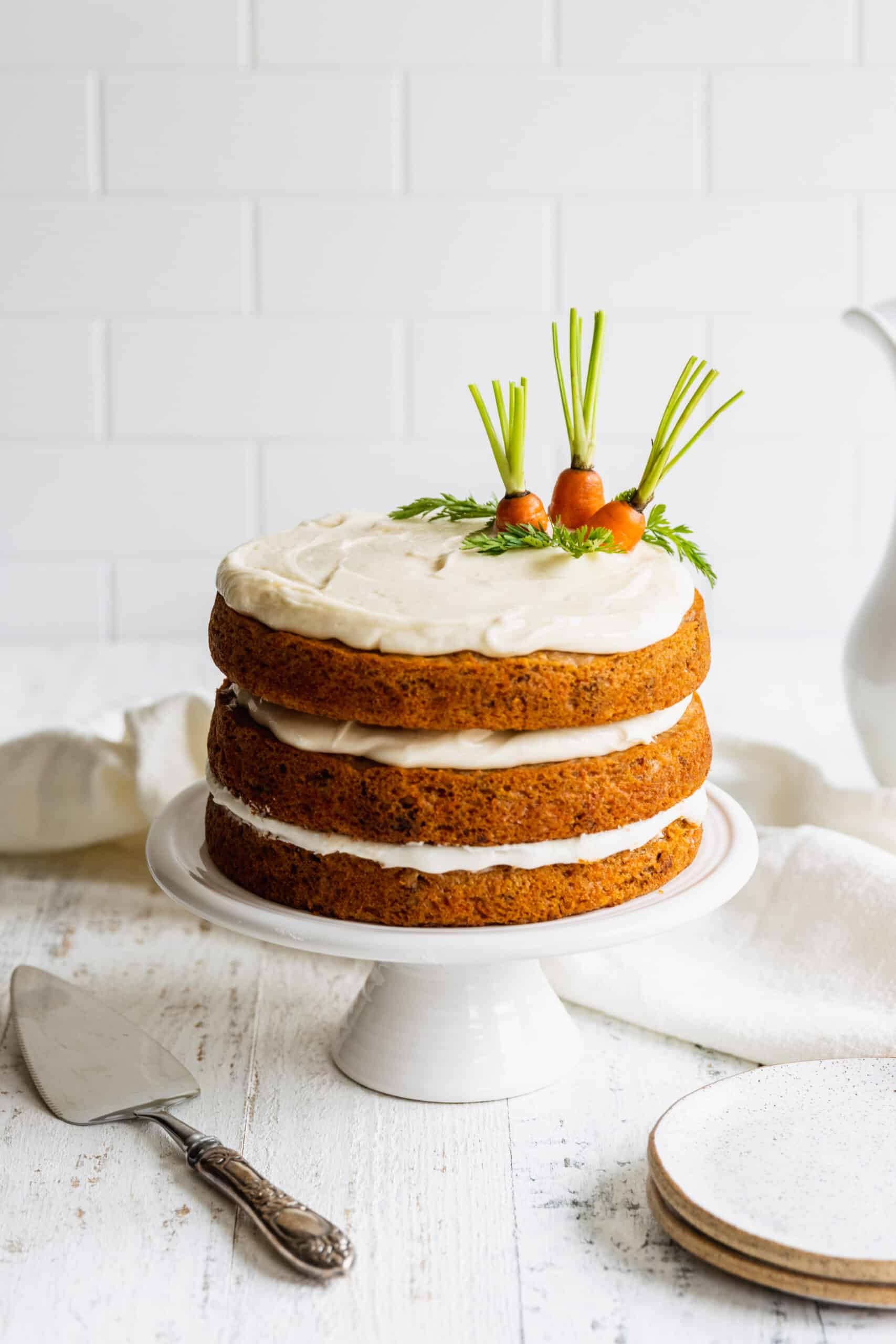 Moist Carrot Cake with Vegan Cream Cheese Frosting