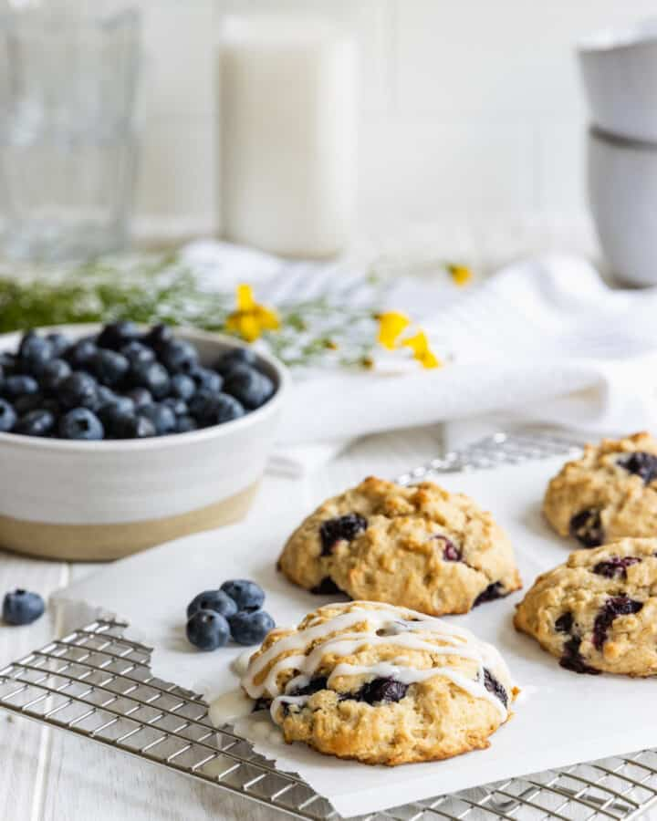 Breakfast Muffin Tops with fresh blueberries