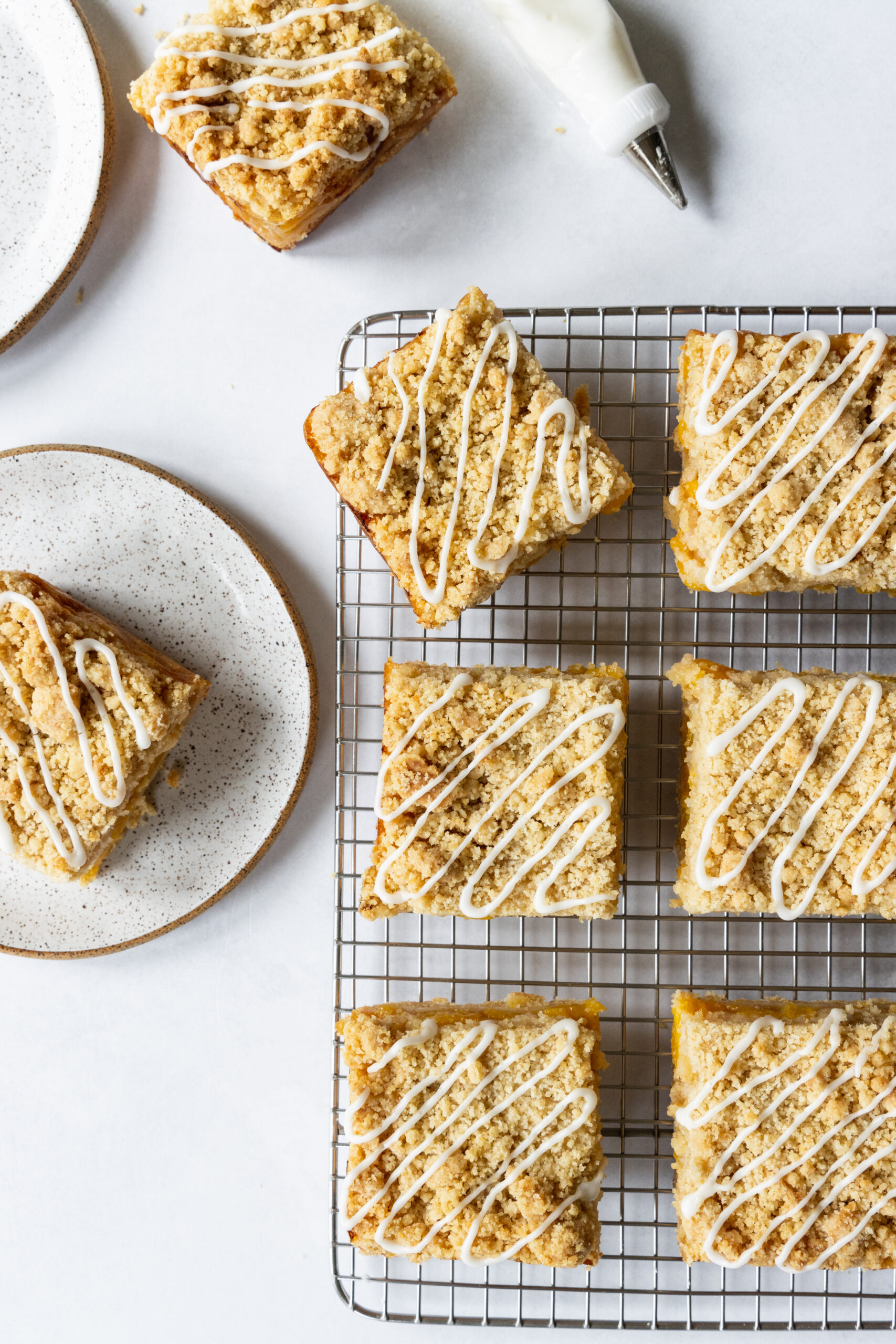 Amazing Peach Bars on a cooling rack