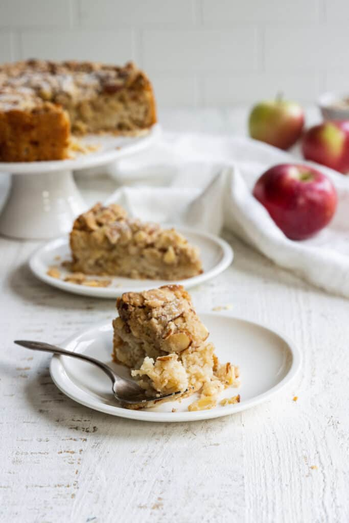 Apple Almond Cake served with a fork