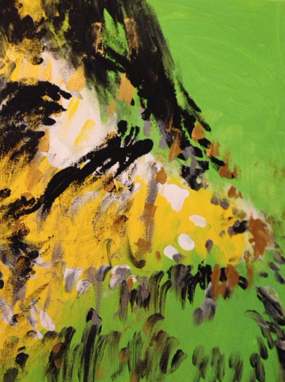 Change is a portrait oriented abstract of black, yellow and gold on a green background. Some people see the left side of someone's face looking back at them.
