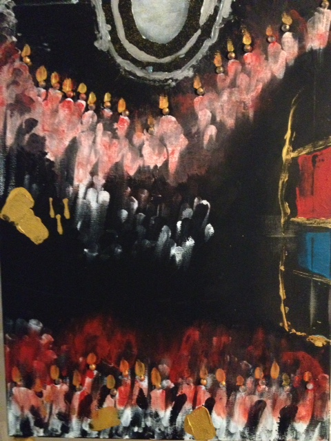 Faux Faith sees several layers in this portrait oriented abstract. Many people see the inside of a cathedral with a choir in an upper loft and a group of people - possibly Cardinals down below with stained glass to the right.