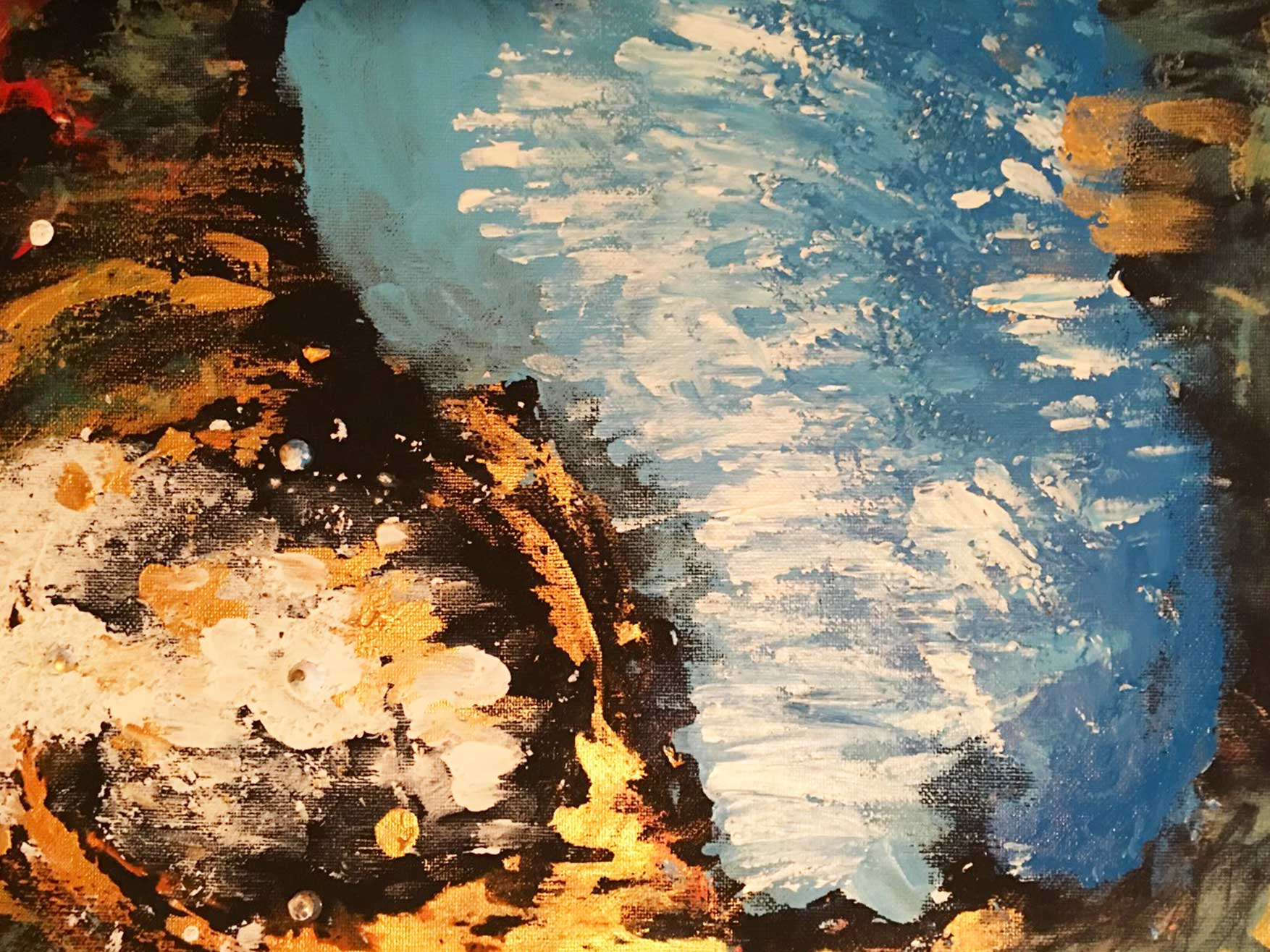 Perceptual Reflections is a landscape oriented abstract that many people say looks down from the top of a cliff into an ocean inlet.