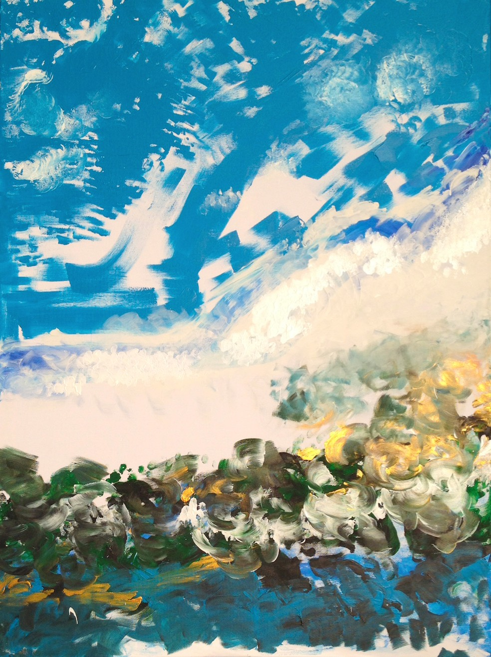 Celestial Avalance is a portrait oriented abstract that people see a white blur of snow falling down a mountain with white-covered objects hurled into a deep blue sky with either the sea or a lake at the bottom.