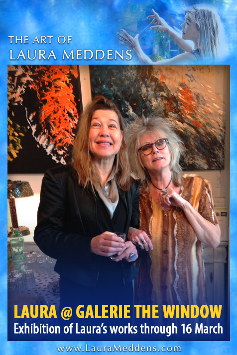 Facebook Module frames a photo of Laura Meddens with Wanda Klein, one of the partners of Galerie The Window. Exhibition of Laura's works through March 16.