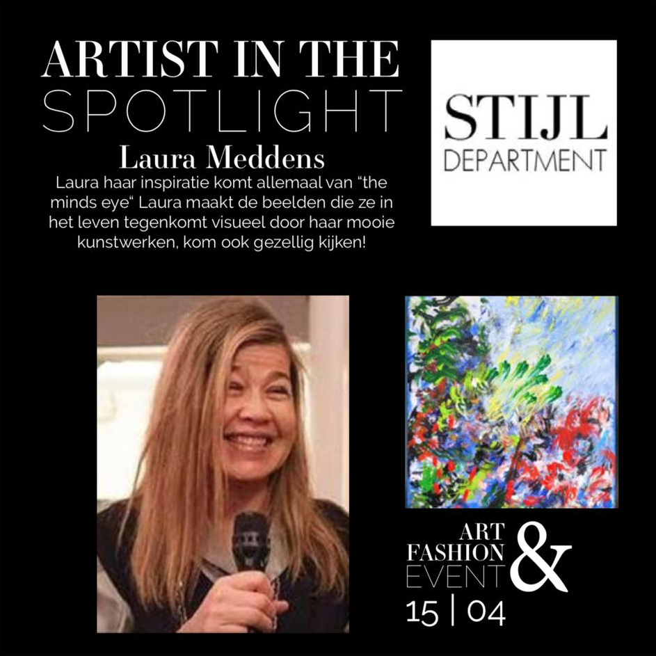 Artist in the Spotlight - Laura Meddens at Stijldepartment, Pampuslaan 23-25, 1087 HP, Amsterdam Sunday, April 15 from 2 to 5 PM.