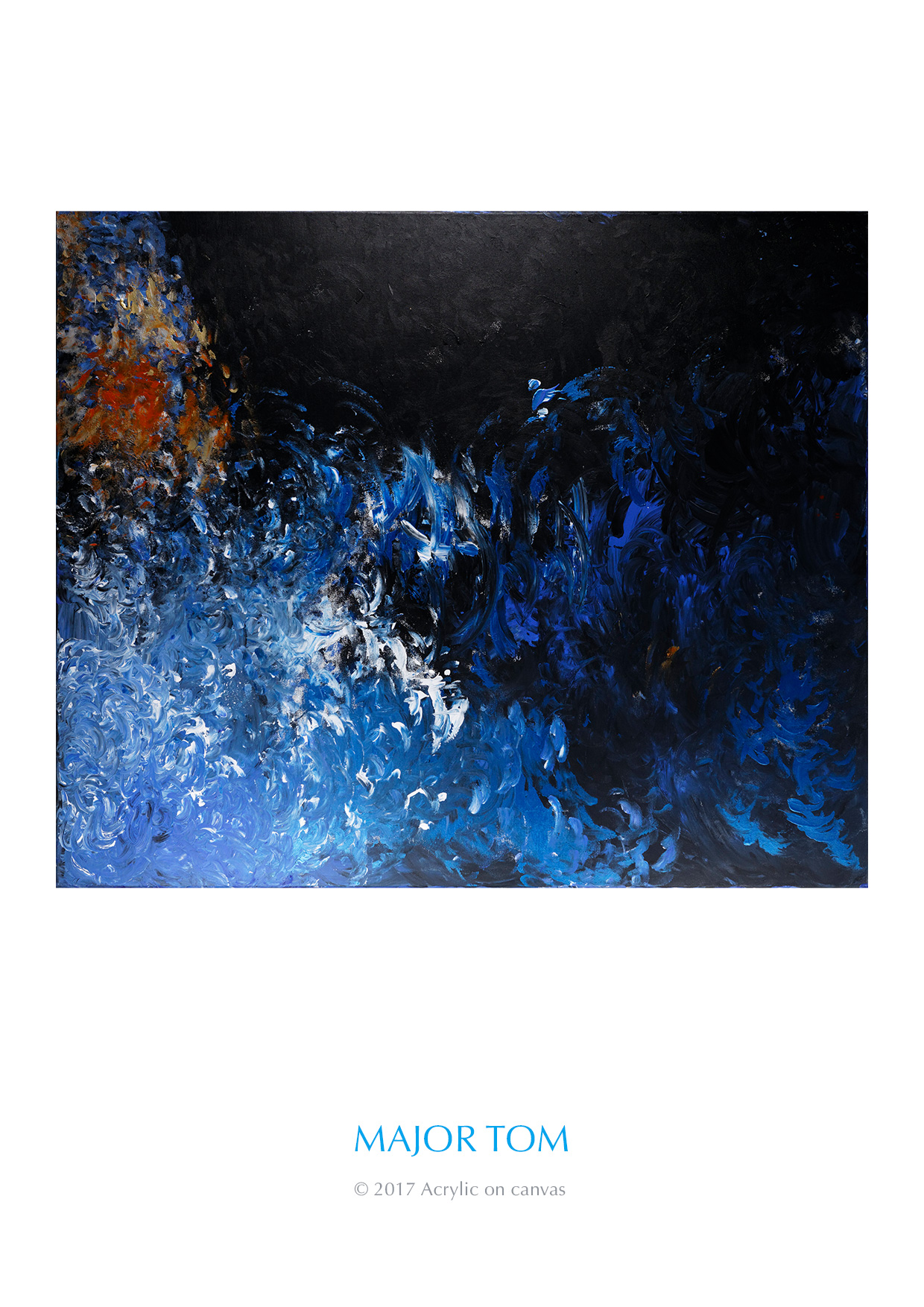 """Major Tom. This is the horizontal perspective of """"Extreme Obligations"""". Some people see an astronaut with a helmet on sitting on an asteroid out in the blackness of space with shades of blue and white making up the asteroid."""