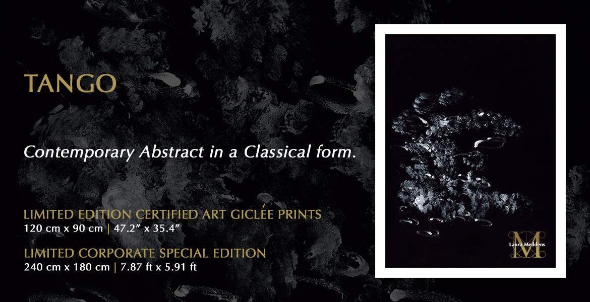 Tango. Contemporary Abstract in a Classical form. Limited Edition Certified Art Giclee Prints 120 cm by 90 cm   47.2 inches by 35.4 inches wide. Limited Corporate Special Edition 240 cm by 180 cm   7.87 feet by 5.91 ft wide. Image shows a white framed TANGO which many people feel represents two people dancing a tango.