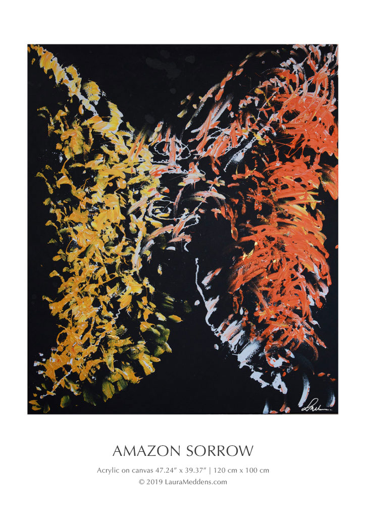 Amazon Sorrow. People have said they see the image of a tribal chieftain bedecked in colorful orange and yellow gold plumage raising his left arm and hand to cover one eye as he looks directly at the viewer with his right eye.