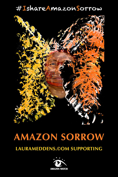 The face of an Amazon leader grows more visible in the painting Amazon Sorrow.