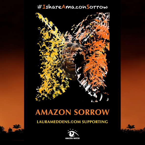 Another Amazon tribal leader starts to appear in the Amazon Sorrow painting in a framing for Twitter.