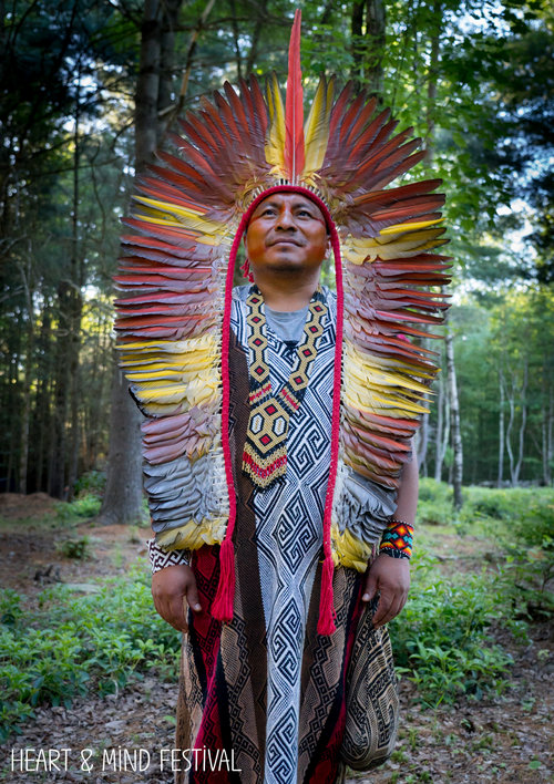 Full length photo of Yube Huni Kuin, a leader in the indigenous Amazon Huni Kuin tribe. wearing an organce and yellow full-length headdress.