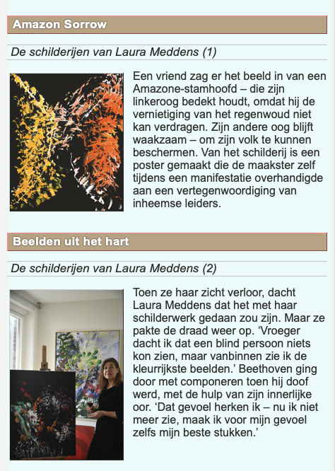 Screengrab of preview of article about Laura Meddens in Dutch magazine Vruchtbare Aarde (Fertile Earth). Text is translated into English in adjoining column.