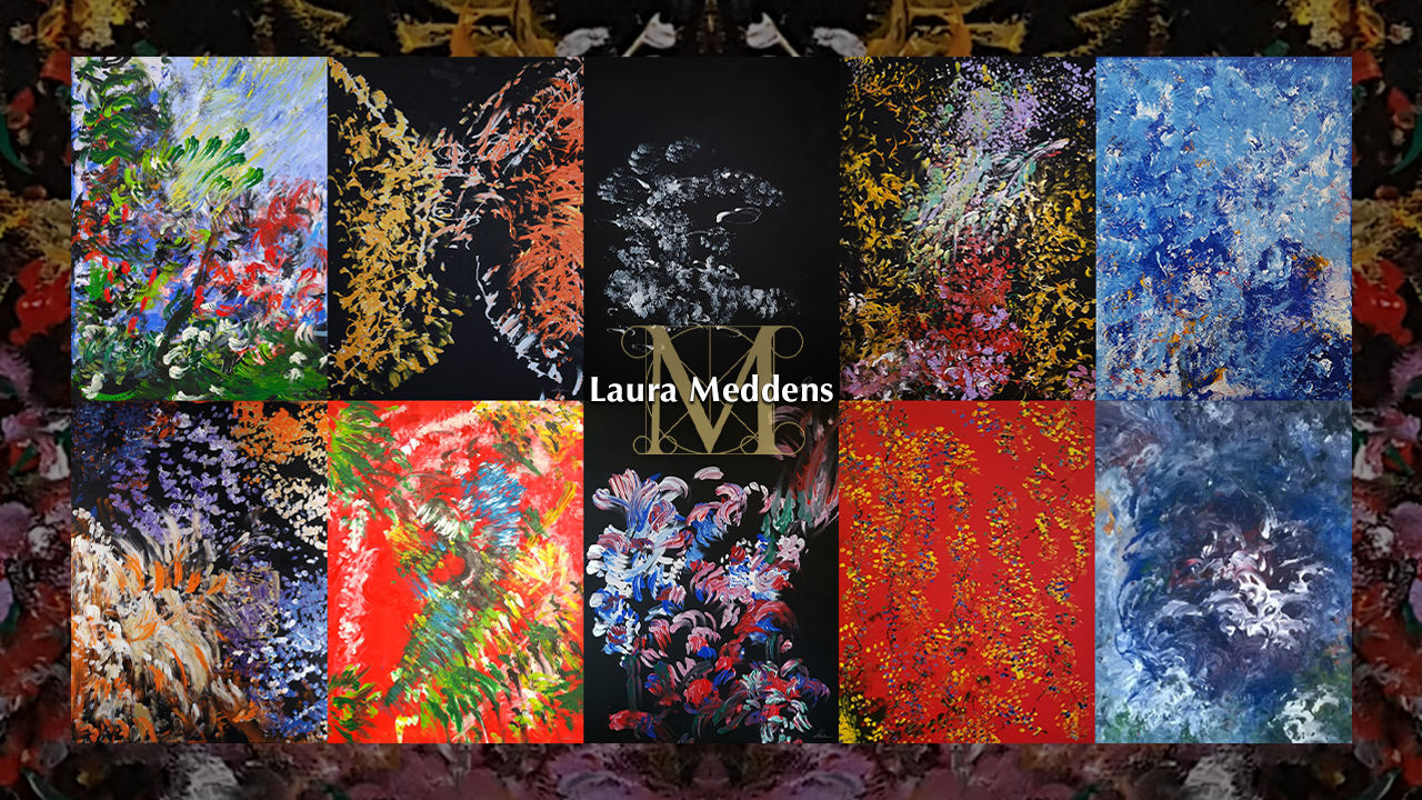 Mosaic of paintings by Laura Meddens.
