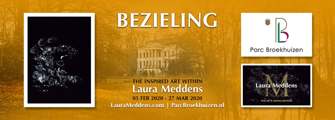Bezieling - The Inspired Art Within Laura Meddens. 05 February 2020 to 27 March 2020. A background photo of Parc Broekhuizen is flanked by an image of Laura's painting Tango on the left, and the logos for Parc Broekhuizen and Laura Meddens Fine Art and Limited Editions.