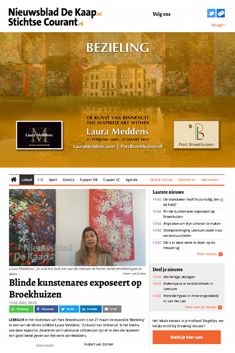 Screengrab of article at Nieuwsblad De Kaap about Laura Meddens and her exhibition at Parc Broekhuizen. Link to the full article text online by clicking on this photo.