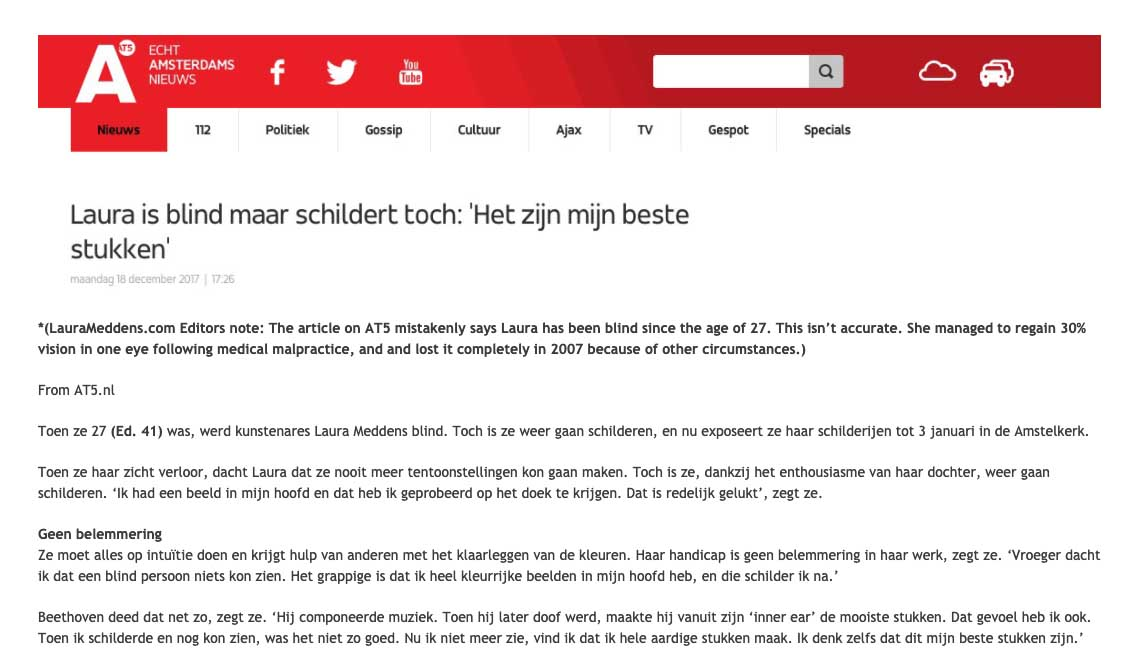 Article about Laura Meddens on the AT5 website. Embedded version of Dutch text coming soon.