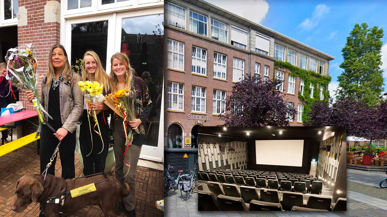 Studio K Premiere of the documentary about Laura Meddens. Photo montage shows the exterior of Studio K and inside the theater, while another photo shows Laura with filmmakers Juul Schopping and Britt Engel with Laura's Seeing Eye guide dog Nugget.