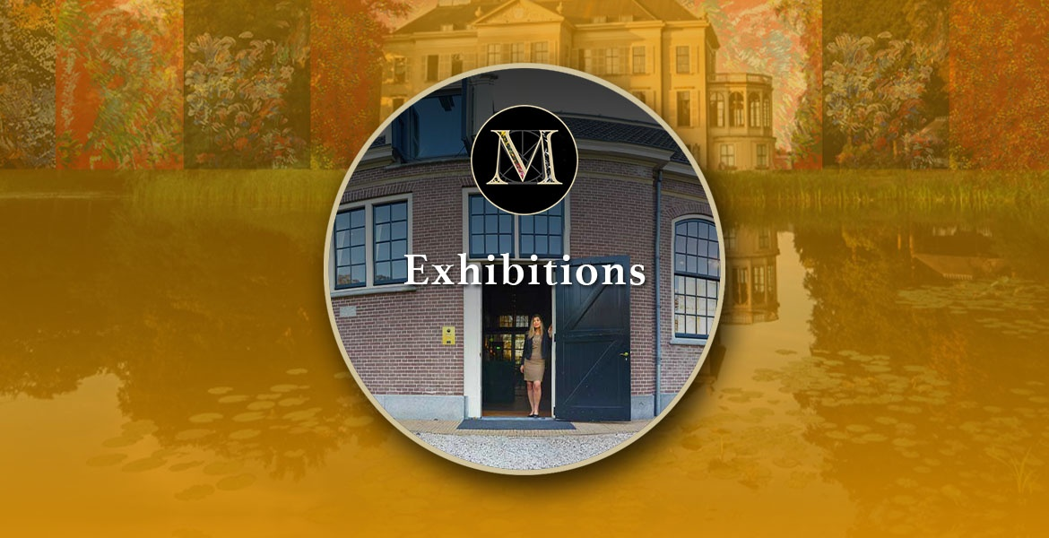 Exhibitions. Photo of Laura Meddens standing in the doorway of the Carriage House on the Parc Broekhuizen Estate is pictured against a backdrop of the Parc Broekhuizen Boutique Hotel with an overlay of some of Laura's paintings.