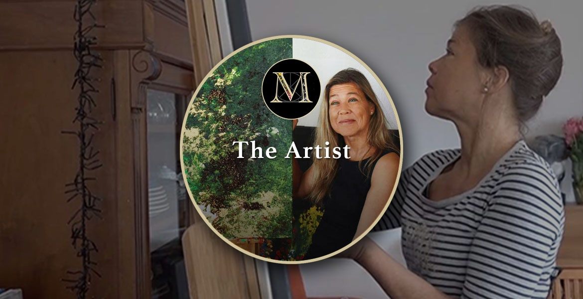"""The Artist. Top banner contains a circular photo of Laura beside her painting """"Forest"""" set against a large photo of Laura painting using her fingers at an easel."""