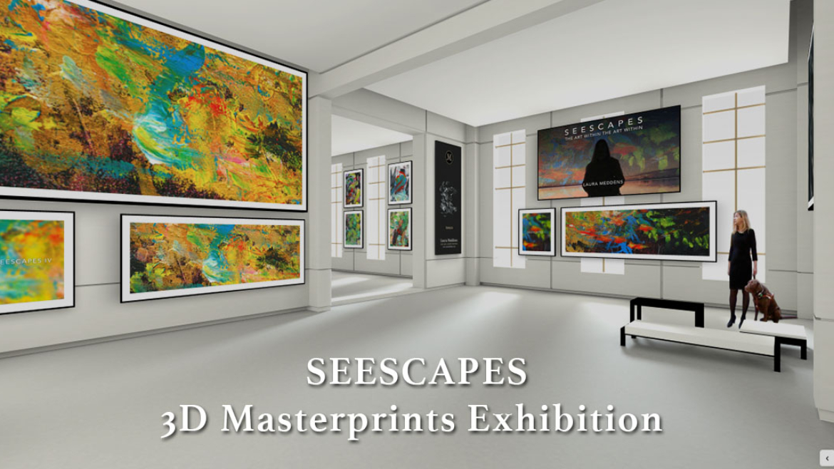 SEESCAPES 3D Masterprints Exhibition. Screenshot of online virtual gallery of megasized prints of the works of Laura Meddens.