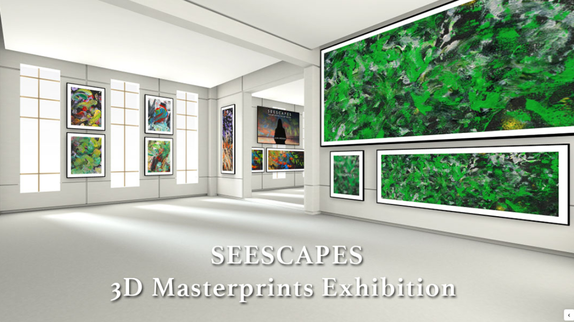 A view from the second wing of the virtual online gallery for Laura's SEESCAPES Exhibition of massive Masterprints.