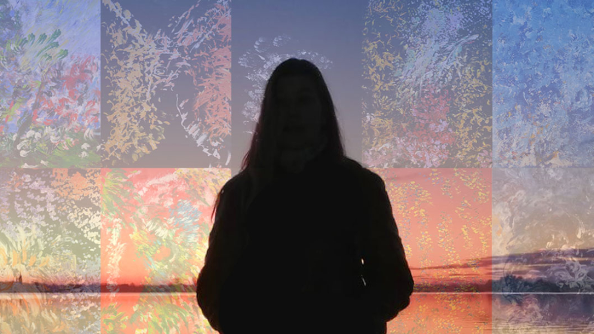 Composite photo of silhouette of Laura Meddens facing the sea with land open the horizon at sunset with a transparent montage of her paintings layered over the sky.