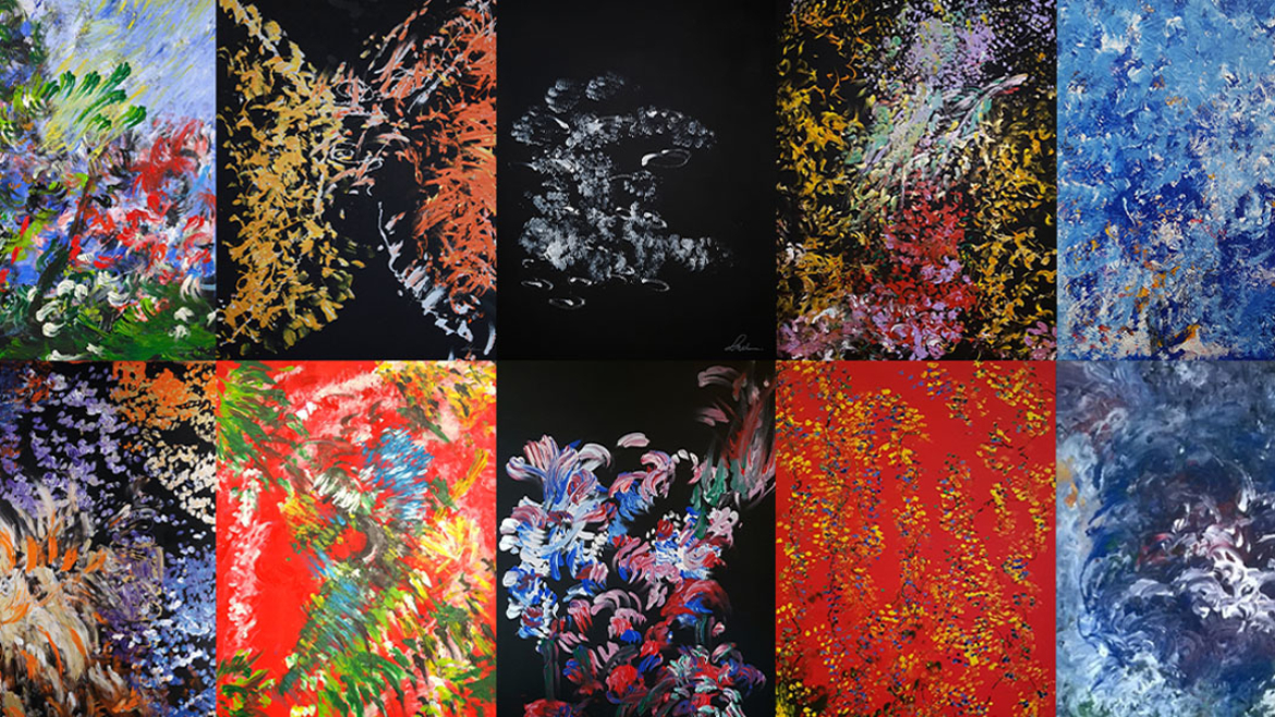 A montage of 10 paintings by Laura Meddens.