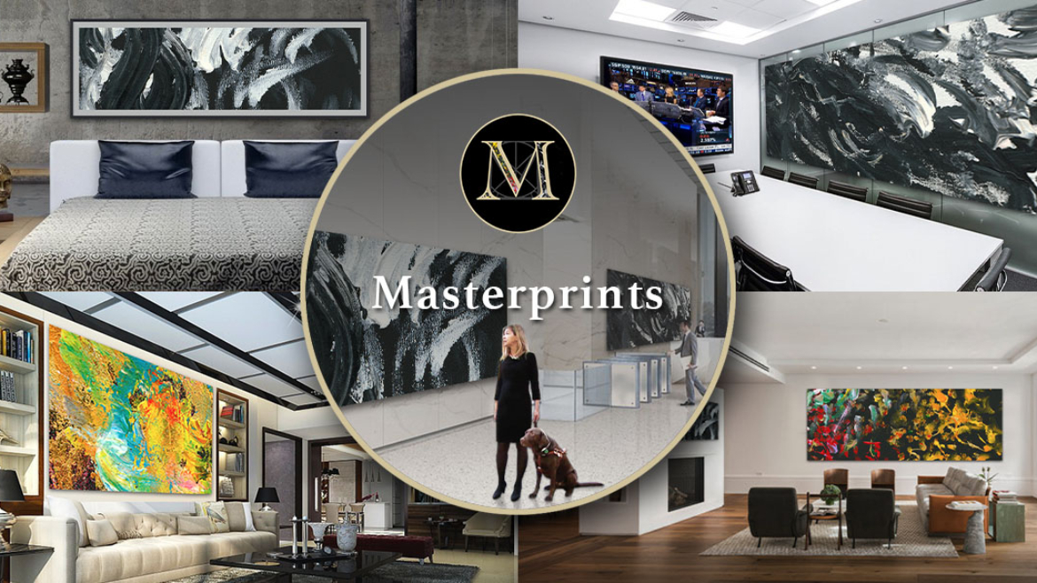 A virtual illustration of Laura Meddens with her Seeing Eye guide dog Nugget standing in front of two of her huge Masterprints hung in a building lobby is framed ini the gold ring foreground beneath her M logo icon against a backdrop of four rooms where her giant Masterprints produced in partnership with Whitewall Printing are hung.