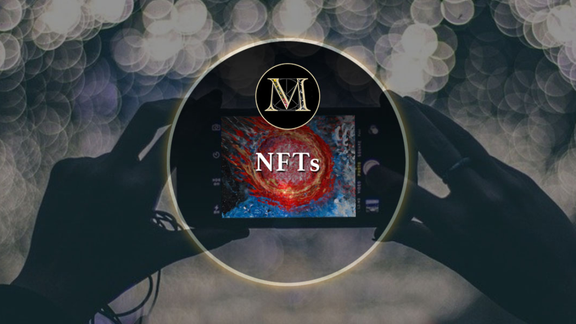"""The Golden M icon in a gold circle from the logo of Laura Meddens dissolve through to a smartphone screen showing a painting by Laura that's been transposed into an digital """"token"""" with the text NFTs in the foreground while silhouette of the hands holding the camera are set against a bokeh background."""