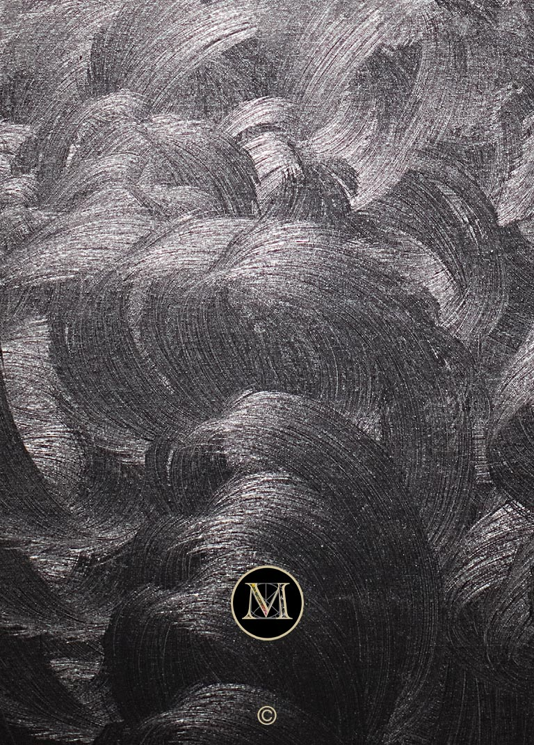 """High Definition detail of """"Black Velvet"""". The silver and grey swirls resemble a medieval woodcut."""