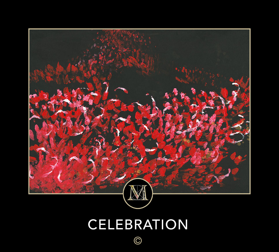 CELEBRATION. Red, white and pink dominates a flowing group of people that Laura saw in a dream.