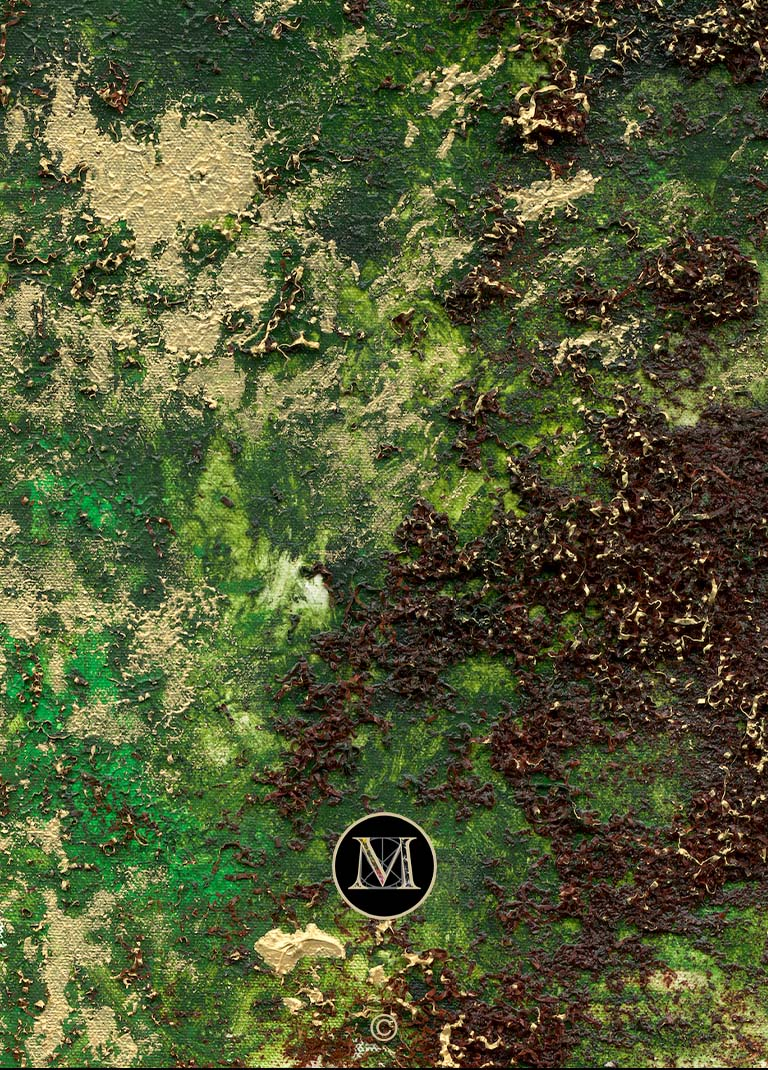 FOREST HD. A high-definition scan shows a close-up of the texture provided by the paint and mahogany used.