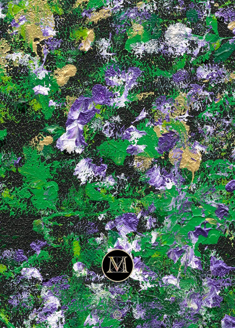 GENESIS HD. The high-definition scan shows a portion of this painting where the texture and color mix of white and purple flowers stands out against the surrounding greenery.
