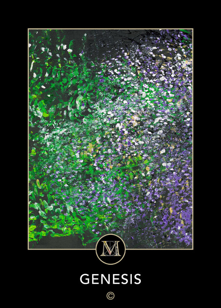 Genesis. Green foliage blends into a mix of white tipped flowers mixing into purple and white flowers against a black background.