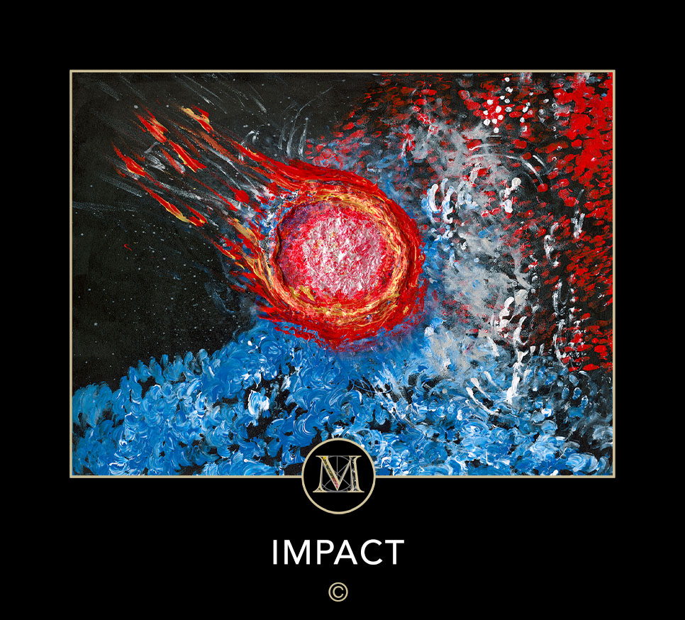 IMPACT. Vibrant image of a asteroid with a flaming tail heading diagonally from the top left to the bottom right against a backgrooup of blue water vapor and red, black and white smoke.
