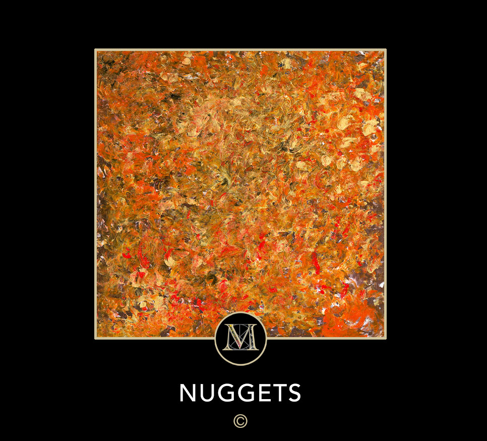 NUGGETS. This acrylic on canvas painting looks like a collage of animal faces, and so is named in honor of Laura's Seeing Eye guide dog Nugget.