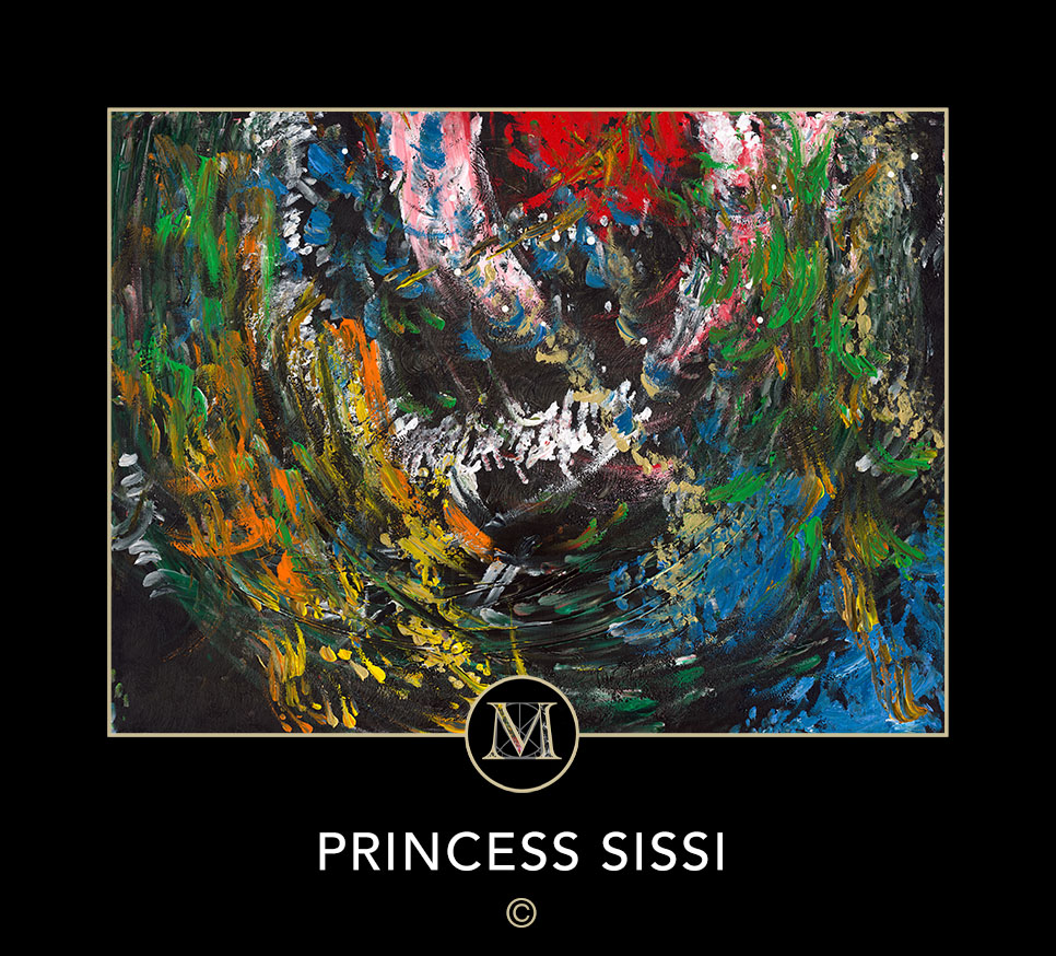 PRINCESS SISSI. A black silhouette of a woman wearing her hair up with a Victorian era dress inspired the title of this painting.