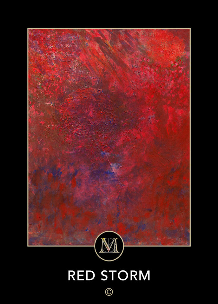 Red Storm. People see faces and other images in what some observe as red storm clouds around a circular plateau.