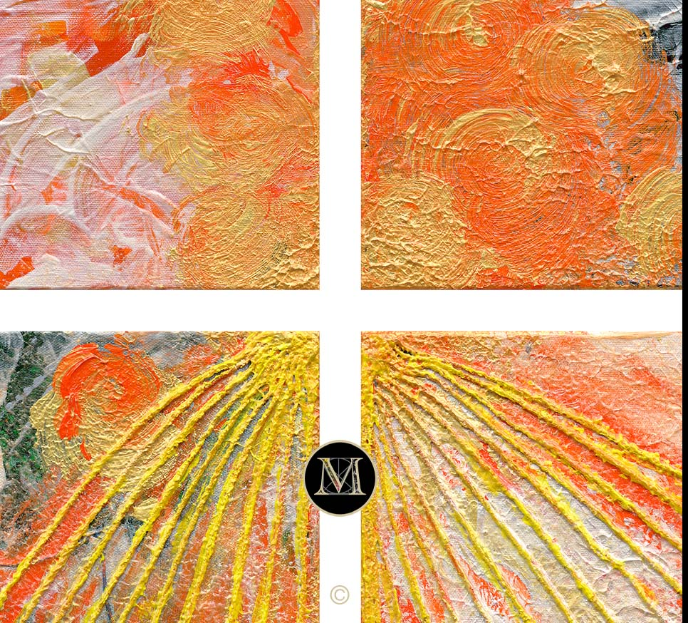 SEASONS HD. This high definition scan zooms in on the center of the grouping to see the detail in the 'rays of the sun' depicted by painted string emanating from the center of the grouping in the bottom two panels.