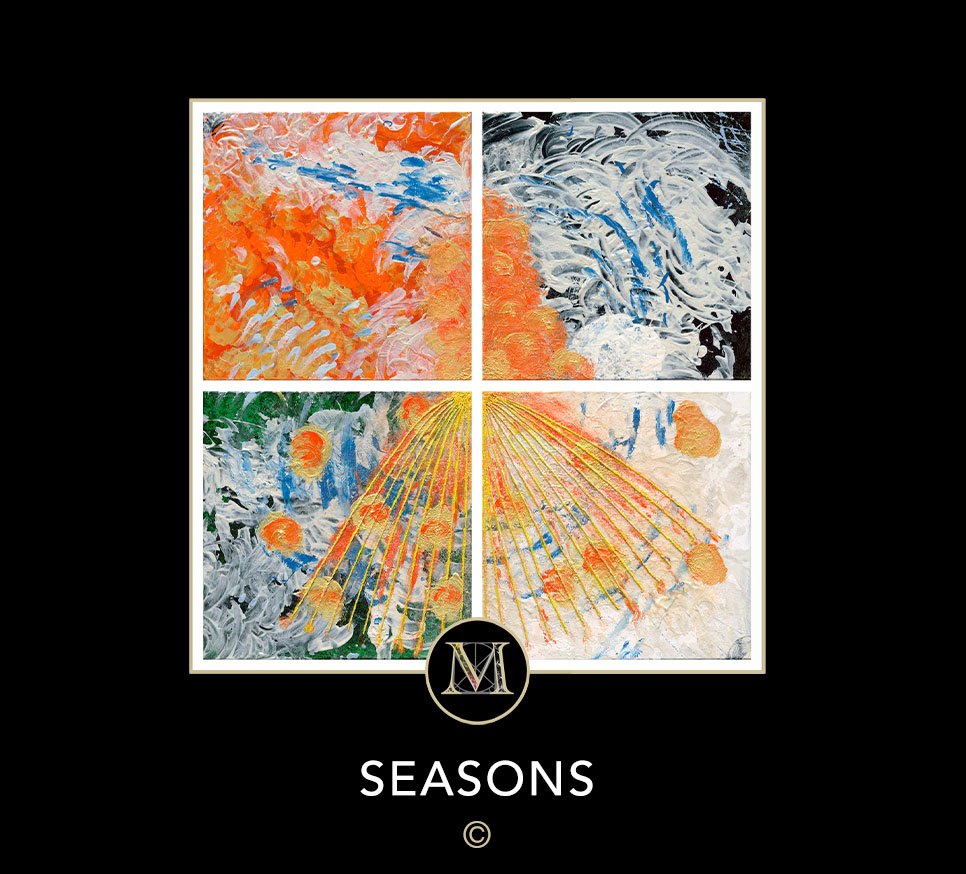 SEASONS. This quadriptych section of 4 paintings show vibrant orange as a dominant color, and sections of string fan out from the center in the bottom two sections.